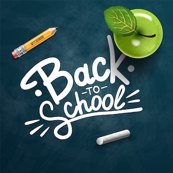 Back to school text drawing by colorful chalk in blackboard with school items and elements. illustration banner.