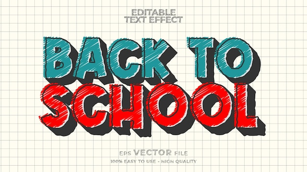 Back to school text effect editable marker doodle text style