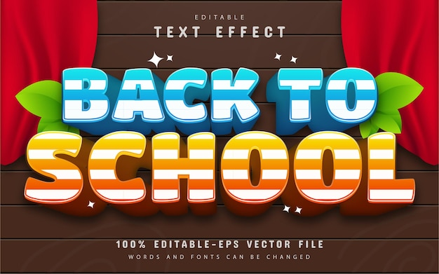 Back to school text effect editable