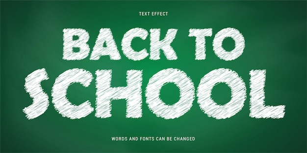 Back to school text effect isolated on chalkboard background editable eps cc