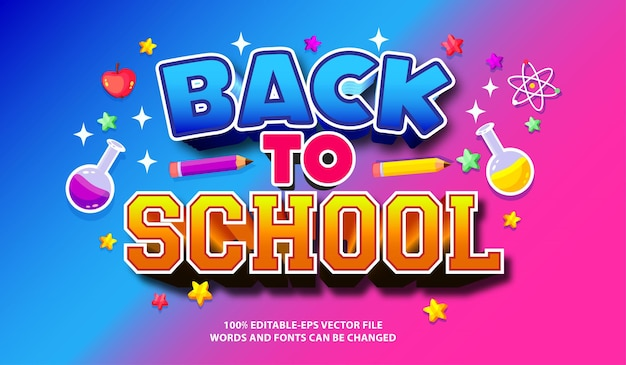 Back to school text effect with editable font