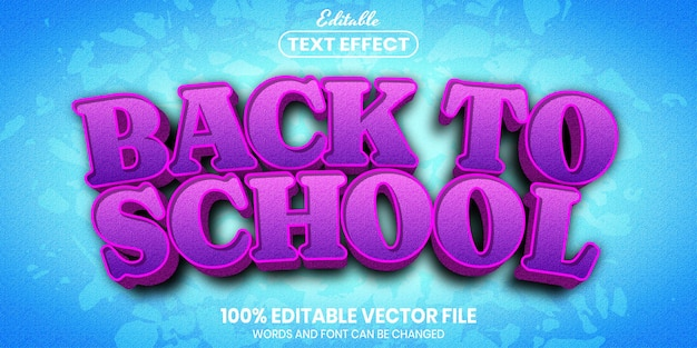 Back to school text, font style editable text effect