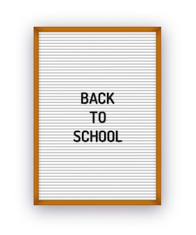 Back to school text on letterboard with plastic letters.