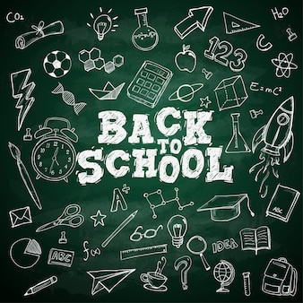 Back to school text school stationary doodles on blackboard