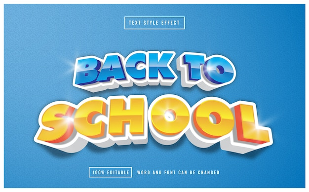 Back to school text style effect free vector