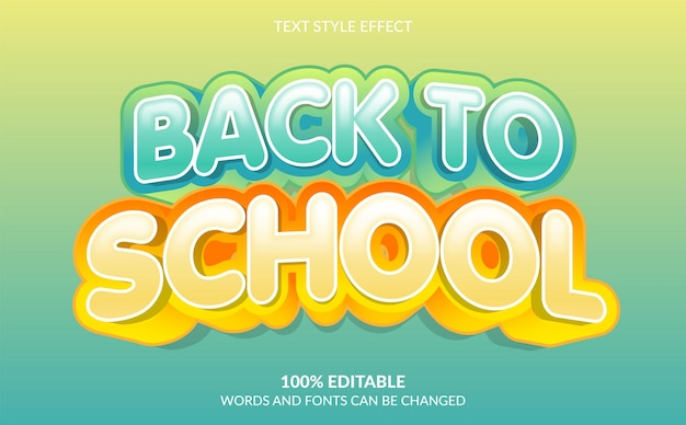 Back to school text style effect