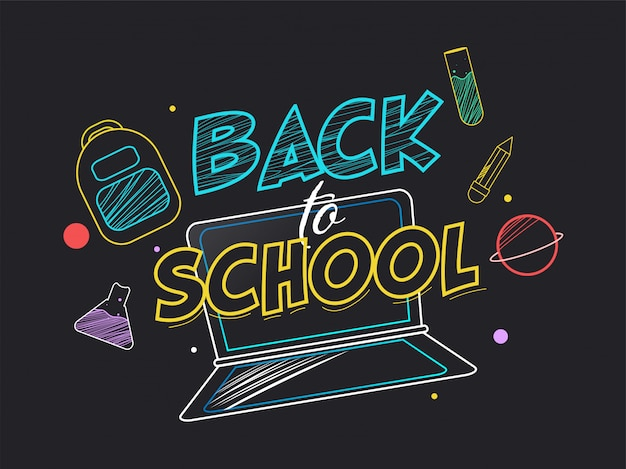 Back to school text with laptop, backpack, text tube, flask, pencil and planet in doodle style on black background.