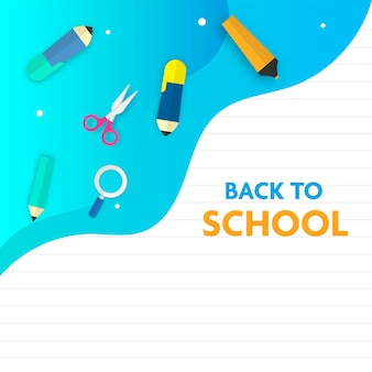 Back to school text with top view of education supplies elements on cyan and white background.