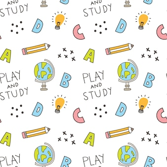 Back to school theme seamless background