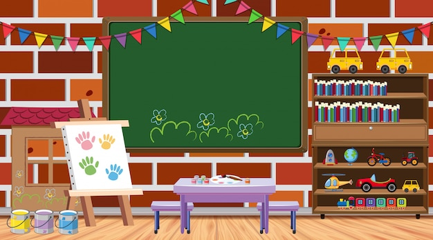 Back to school theme with many school items