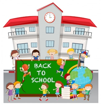 Back to school theme with students at school
