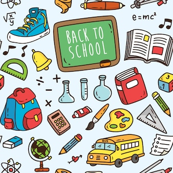 Back to school themed seamless background