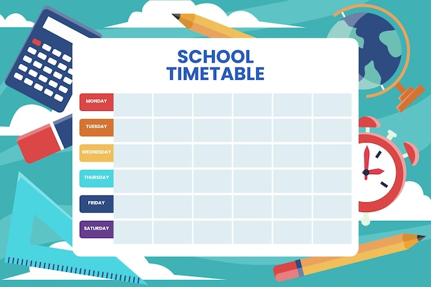 Back to school timetable concept