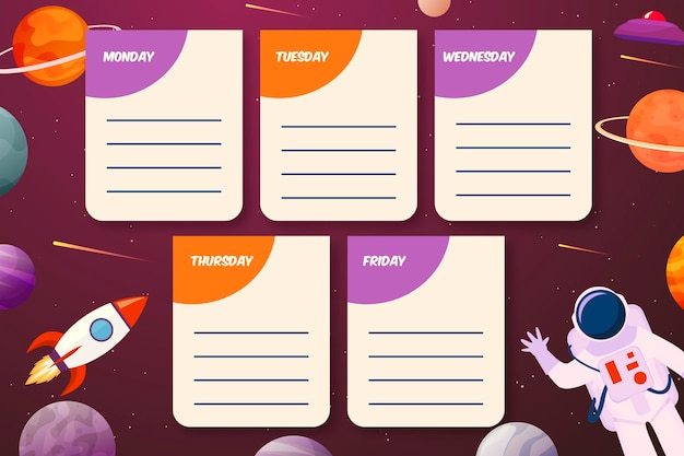 Back to school timetable conceptback to school timetable