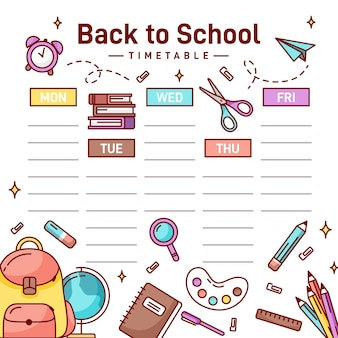 Back to school timetable copy space  ti