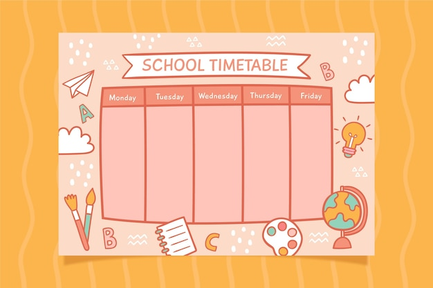 Back to school timetable design