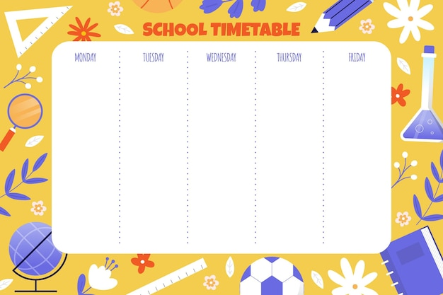Back to school timetable draw
