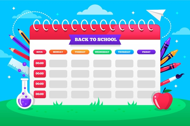 Back to school timetable flat design