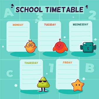 Back to school timetable in flat design