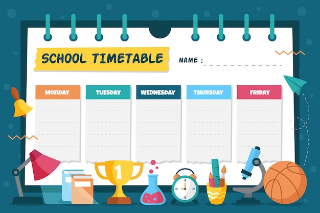 Back to school timetable hand drawn design