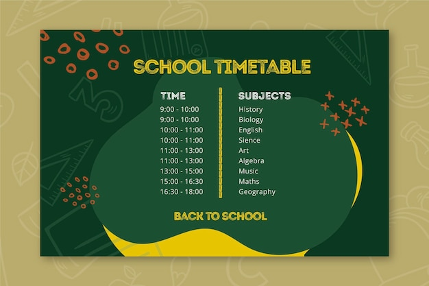 Back to school timetable template