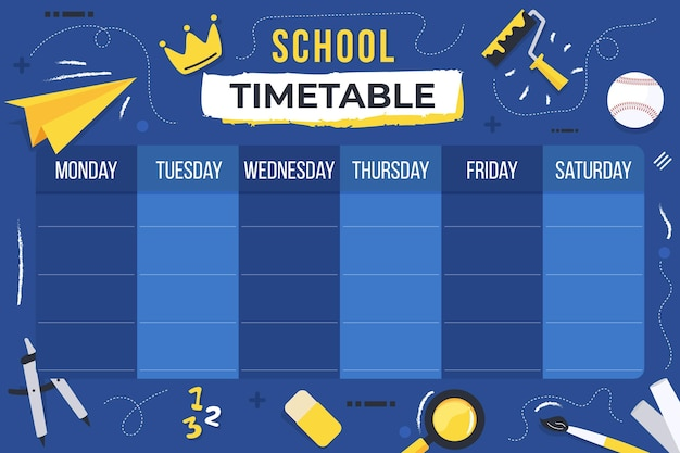 Back to school timetable theme