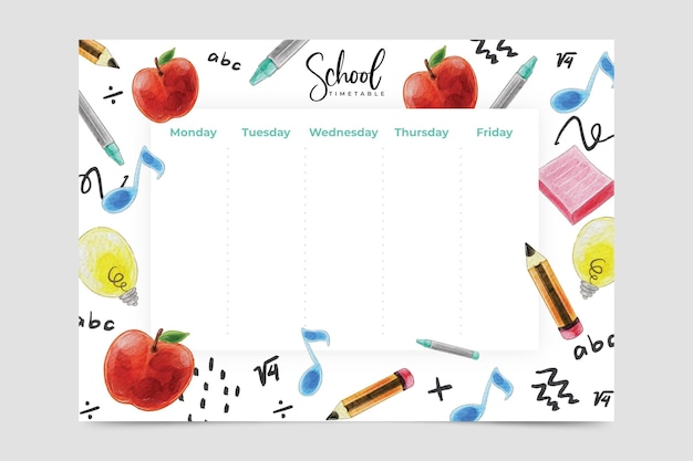 Back to school timetable watercolor design