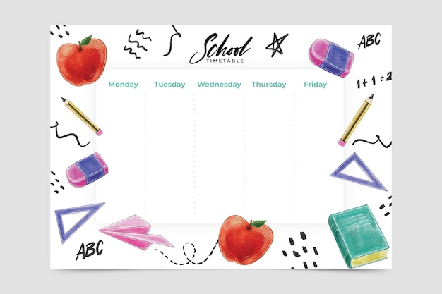 Back to school timetable watercolor style