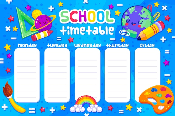 Back to school timetable with subjects