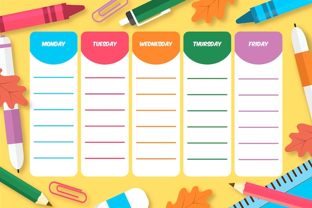 Back to school timetable
