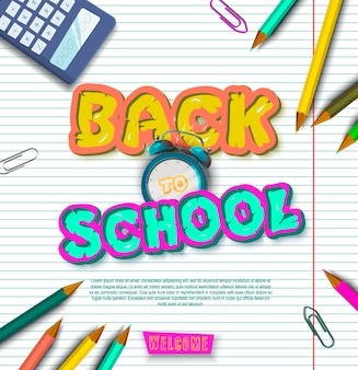 Back to school. tipographic banner. bright flyer. vector illustration