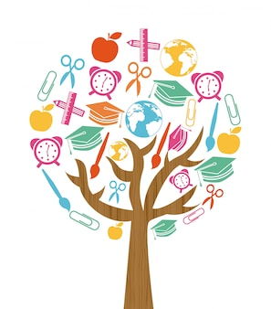 Back to school tree design over white background