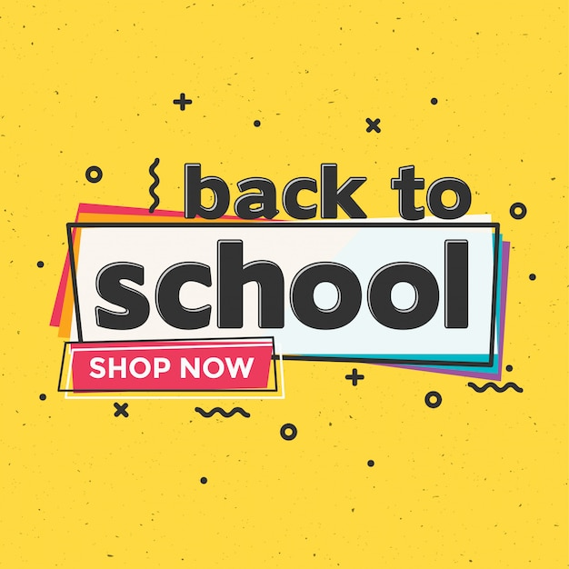 Back to school typographic sale design template