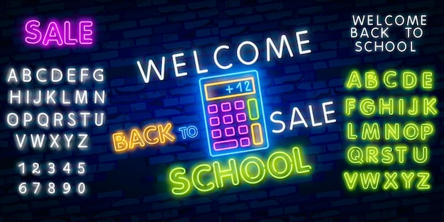 Back to school. typography font alphabet neon style effect