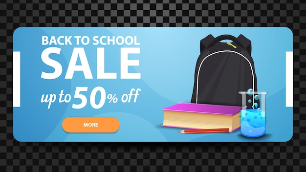 Back to school, up to 50% off, discount web banner for your website with school backpack