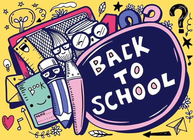Back to school vector banner design with  funny school characters a,hand drawn illustration isolated
