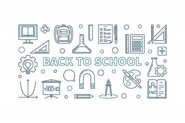 Back to school vector blue outline horizontal illustration
