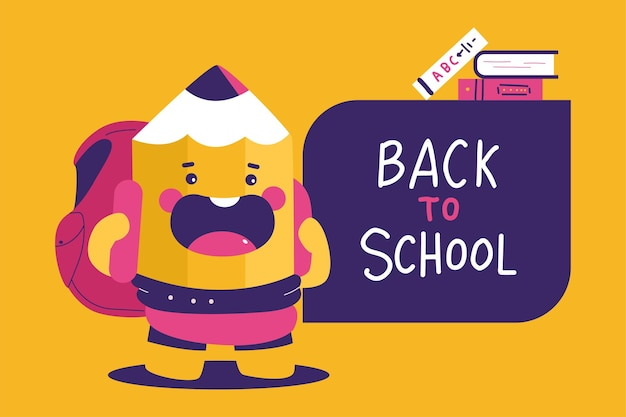 Back to school vector cartoon illustration with cute pupil pencil character.