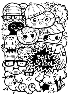 Back to school vector characters background template