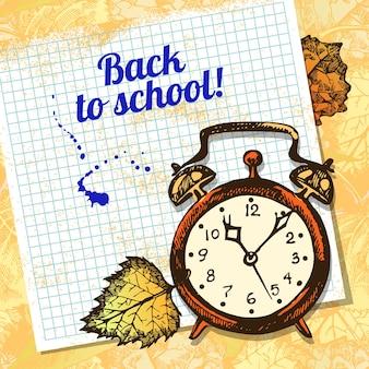 Back to school vector design. hand drawn vintage  background