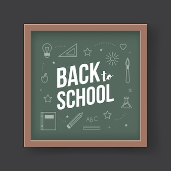 Back to school. vector flat illustrations. drawn chalk school elements on green blackboard with text. green chalkboard in brown wooden frame isolated on black background.