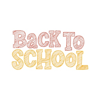 Back to school vector hand drawn sketch lettering inscription