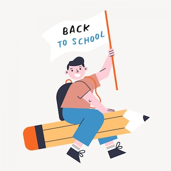 Back to school vector illustration with kid and pencil. boy holding flag and flying on the pen.