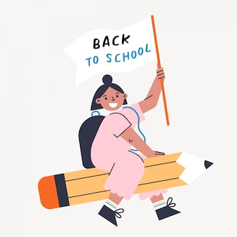 Back to school vector illustration with kid and pencil. girl holding flag and flying on the pen. flat design colorful illustration.