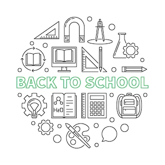 Back to school vector round outline illustration
