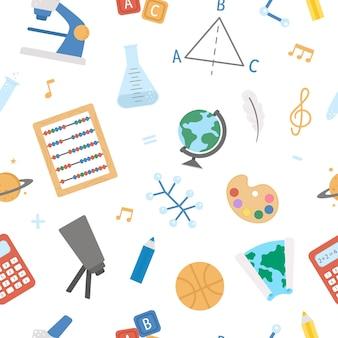 Back to school vector seamless pattern. educational digital paper