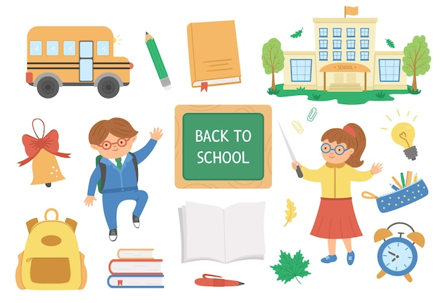 Back to school vector set of elements. big educational clipart collection with teacher and schoolboy. cute flat style classroom objects with supplies, school building, bus, books, stationery, pupil.