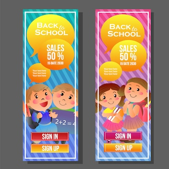 Back to school vertical banner colorful student cartoon