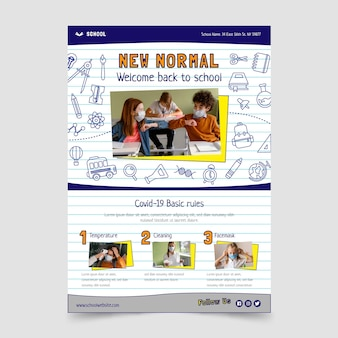 Back to school vertical flyer template with photo