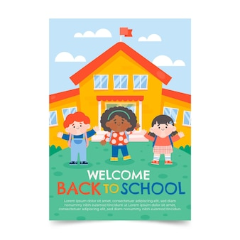 Back to school vertical flyer template